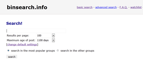 Binsearch NZB bestanden zoeken en downloaden