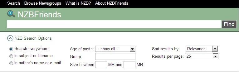 NZBFriends.com NZB bestanden zoeken en downloaden