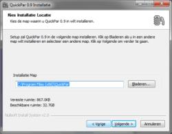 quickPar install folder