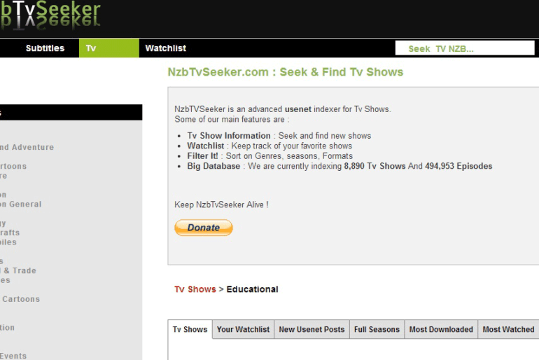 Nzbtvseeker.com Tv series website.