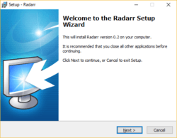 Radarr installeren Windows