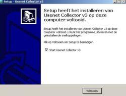 Usenet collector iinstallatie voltooid