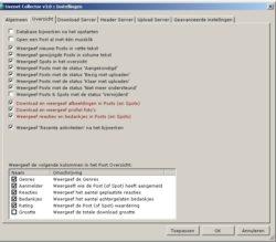 Usenet collector overzicht instellingen