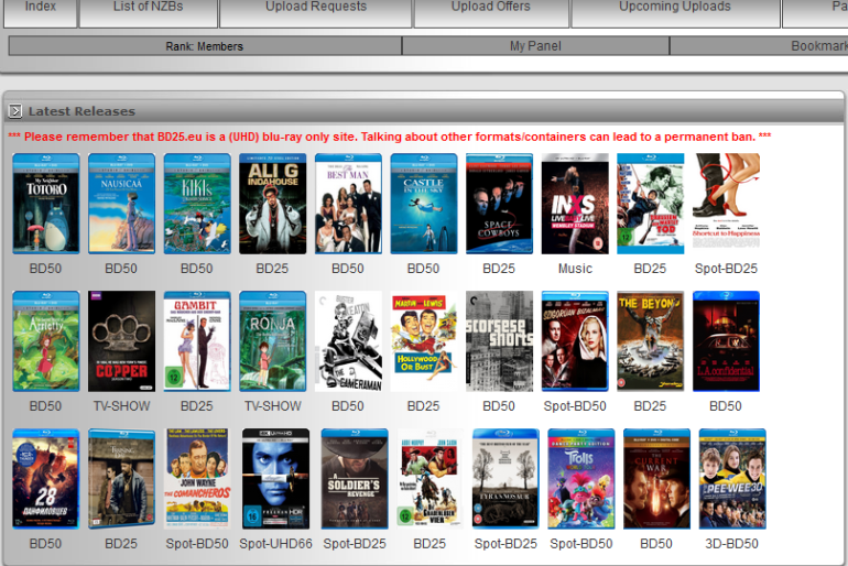 bd25.eu is a Usenet forum for blu-ray releases