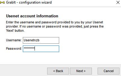 Grabit account loginname and password.