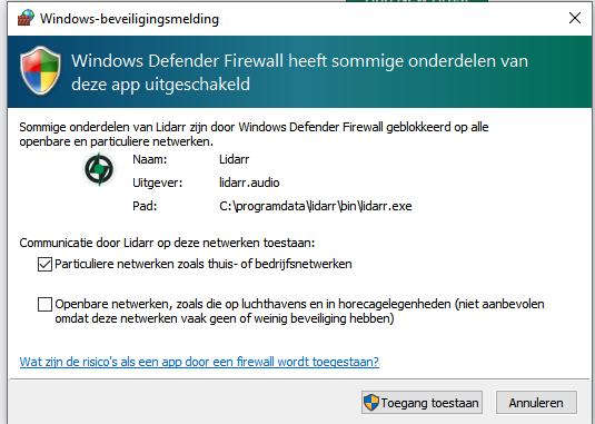 Lidarr windows firewall