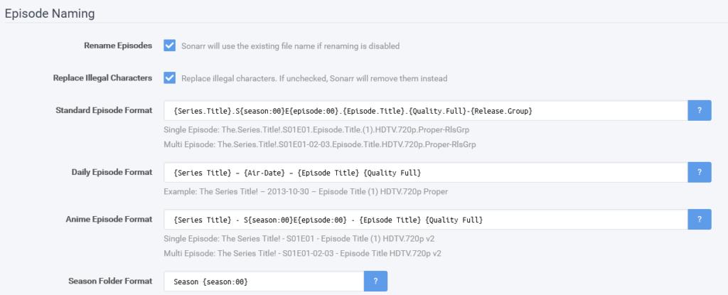 Ubuntu sonarr aflveringen instellen