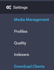 settings sonarr download clients